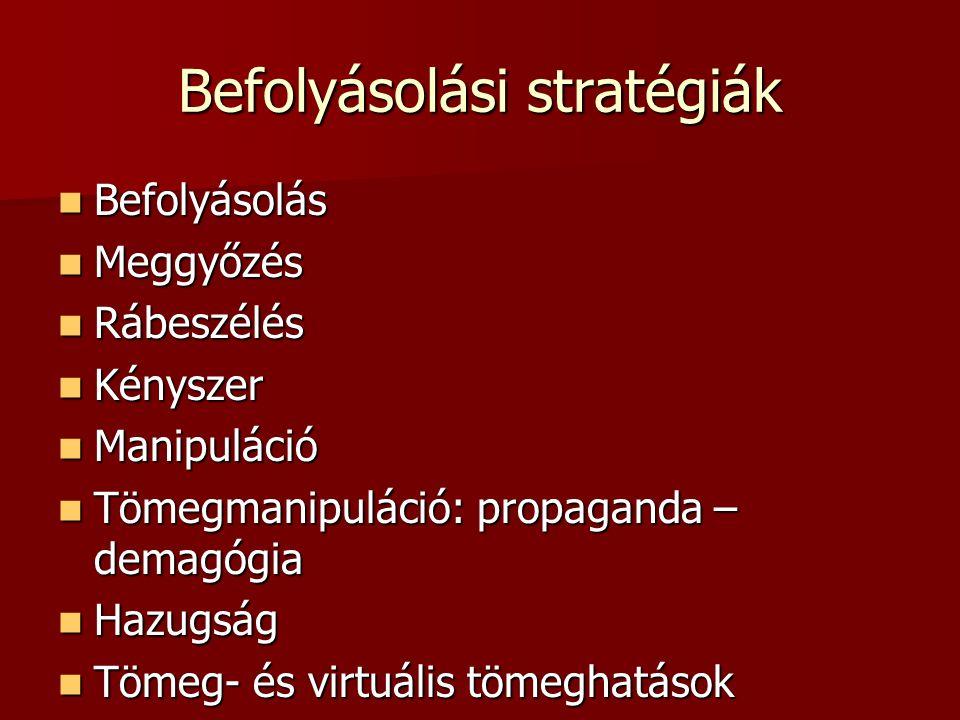 Befolyásolási stratégiák  Befolyásolás  Meggyőzés  Rábeszélés  Kényszer  Manipuláció  Tömegmanipuláció: propaganda – demagógia  Hazugság  Töme