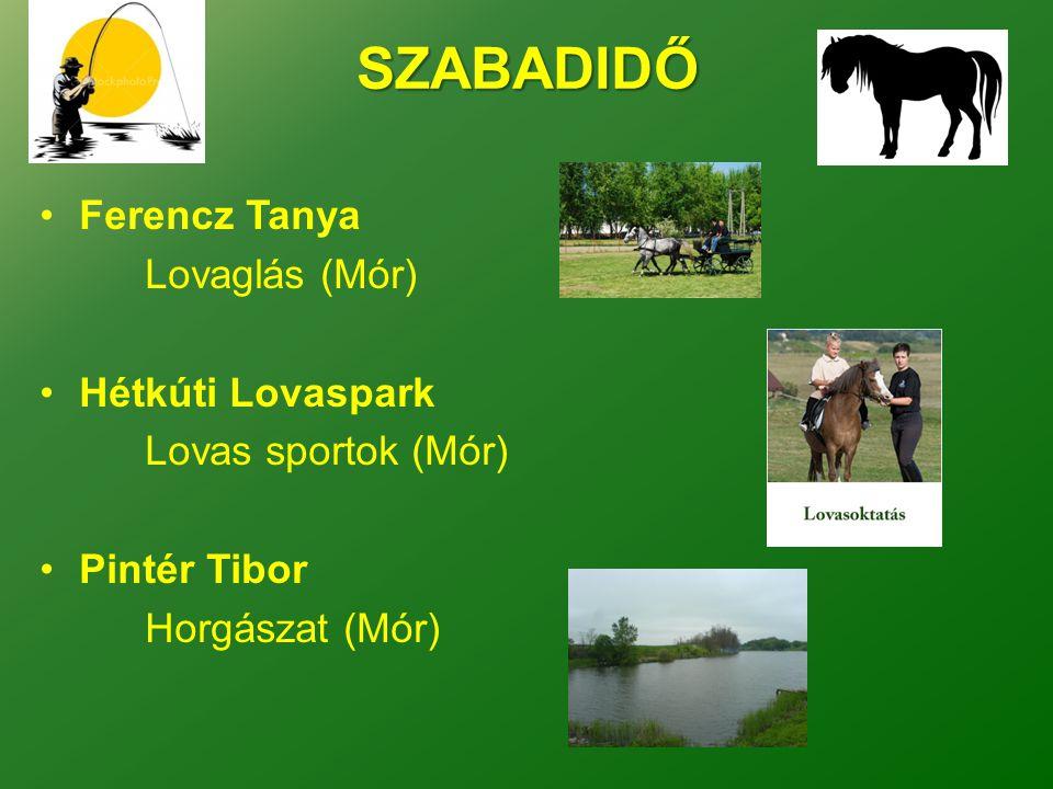 SZABADIDŐ •Ferencz Tanya Lovaglás (Mór) •Hétkúti Lovaspark Lovas sportok (Mór) •Pintér Tibor Horgászat (Mór)