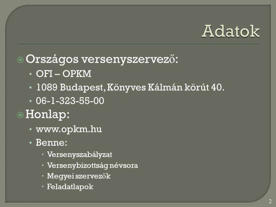  Országos versenyszervez ő : • OFI – OPKM • 1089 Budapest, Könyves Kálmán körút 40.