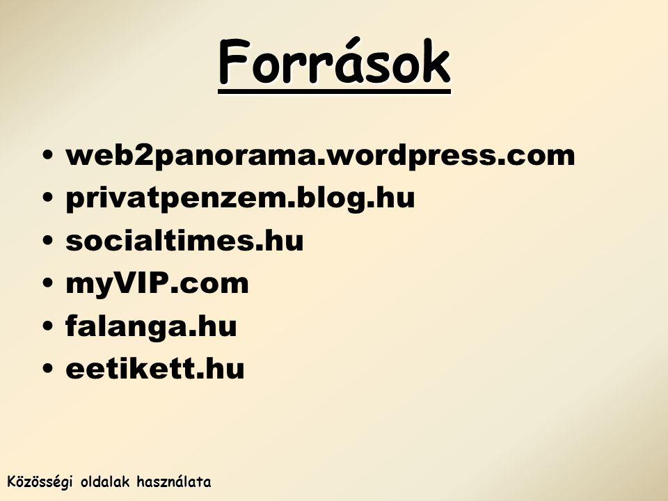 Források Közösségi oldalak használata •web2panorama.wordpress.com •privatpenzem.blog.hu •socialtimes.hu •myVIP.com •falanga.hu •eetikett.hu