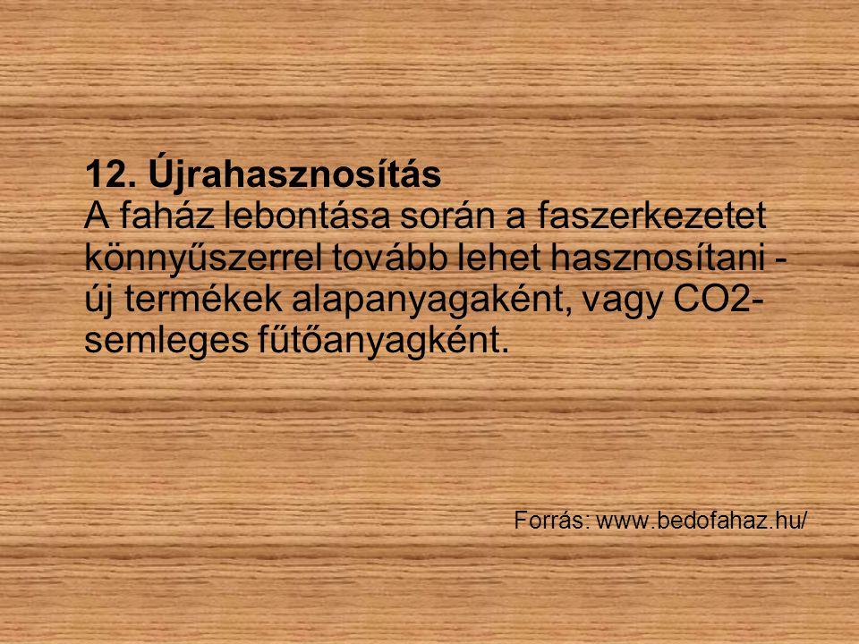 12. Újrahasznosítás A faház lebontása során a faszerkezetet könnyűszerrel tovább lehet hasznosítani - új termékek alapanyagaként, vagy CO2- semleges f
