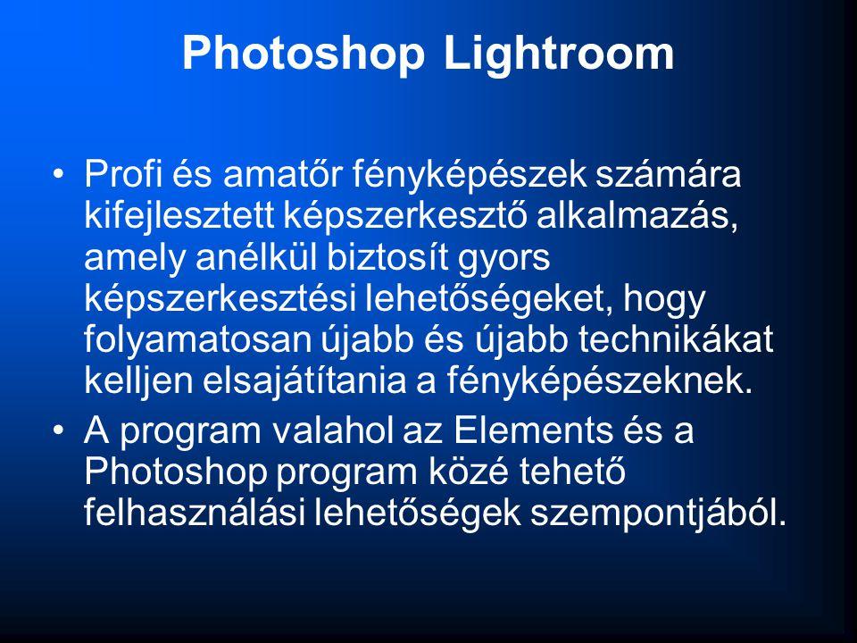 Photoshop Lightroom •Profi és amatőr fényképészek számára kifejlesztett képszerkesztő alkalmazás, amely anélkül biztosít gyors képszerkesztési lehetős