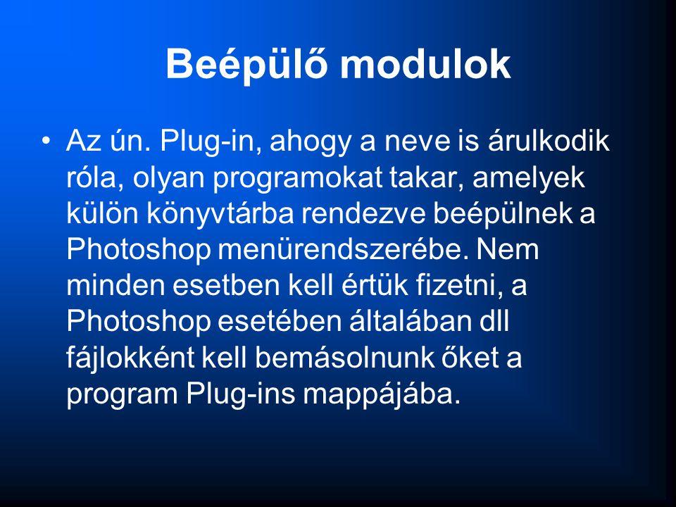 Beépülő modulok •Az ún. Plug-in, ahogy a neve is árulkodik róla, olyan programokat takar, amelyek külön könyvtárba rendezve beépülnek a Photoshop menü