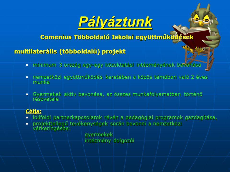 Pályáztunk Comenius Többoldalú Iskolai együttműködések Comenius Többoldalú Iskolai együttműködések multilaterális (többoldalú) projekt •minimum 3 ország egy-egy közoktatási intézményének bevonása •nemzetközi együttműködés keretében a közös témában való 2 éves munka •Gyermekek aktív bevonása, az összes munkafolyamatban történő részvétele Célja: •külföldi partnerkapcsolatok révén a pedagógiai programok gazdagítása, •projektjellegű tevékenységek során bevonni a nemzetközi vérkeringésbe: gyermekek intézmény dolgozói