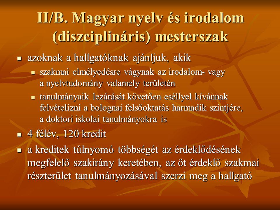 II/B. Magyar nyelv és irodalom (diszciplináris) mesterszak  azoknak a hallgatóknak ajánljuk, akik  szakmai elmélyedésre vágynak az irodalom- vagy a