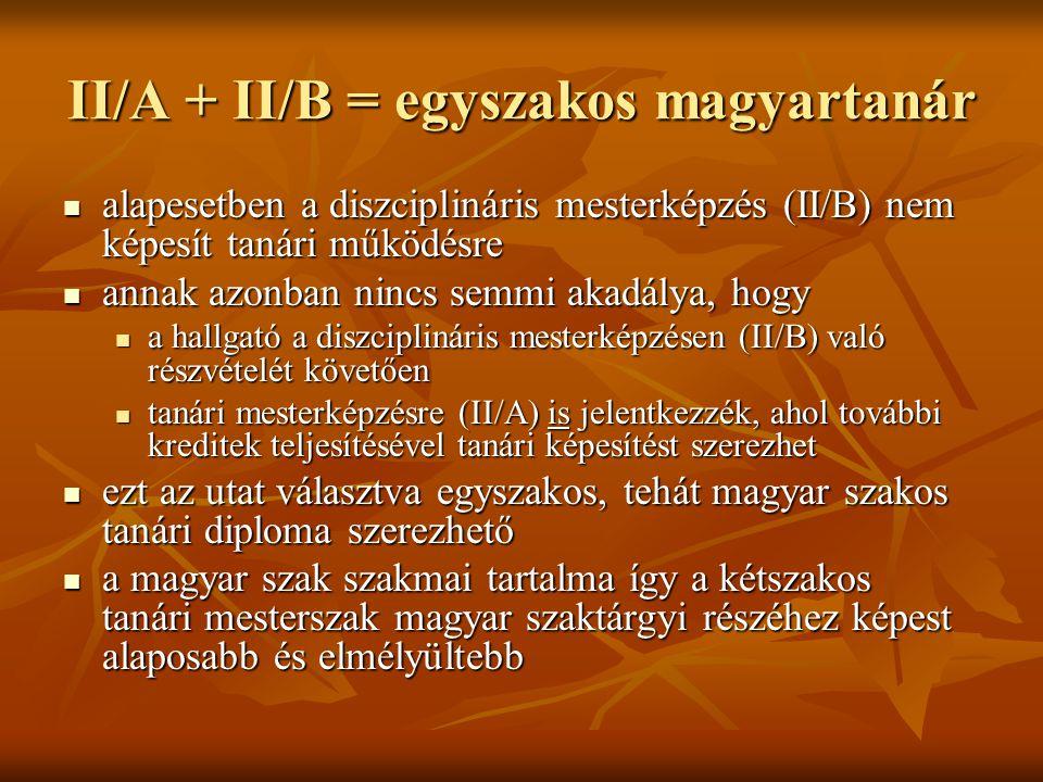 II/A + II/B = egyszakos magyartanár  alapesetben a diszciplináris mesterképzés (II/B) nem képesít tanári működésre  annak azonban nincs semmi akadál