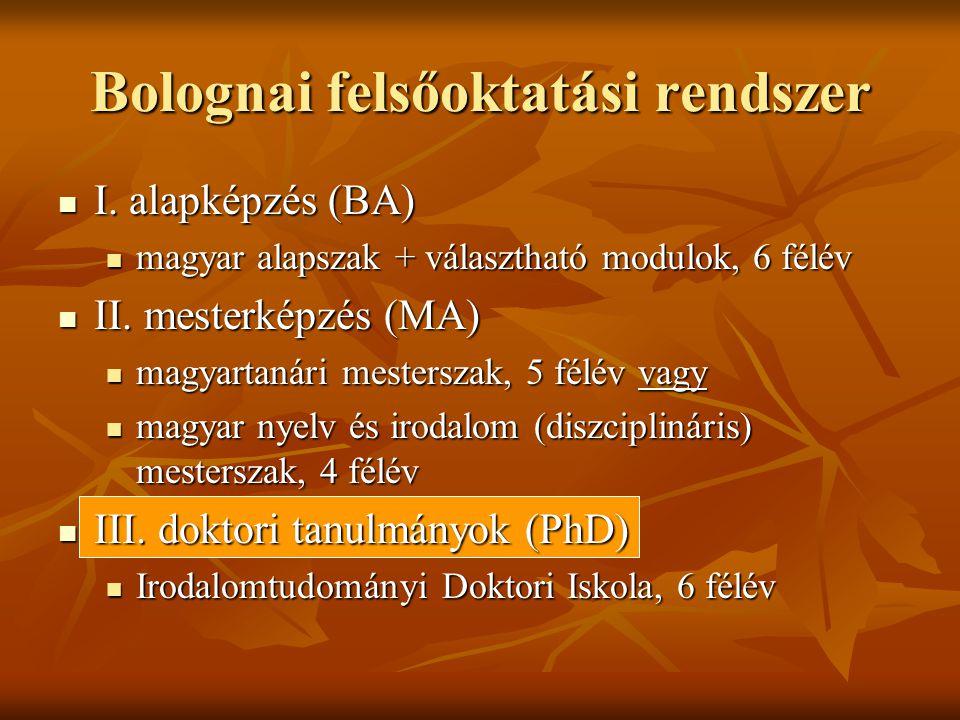 Bolognai felsőoktatási rendszer  I.