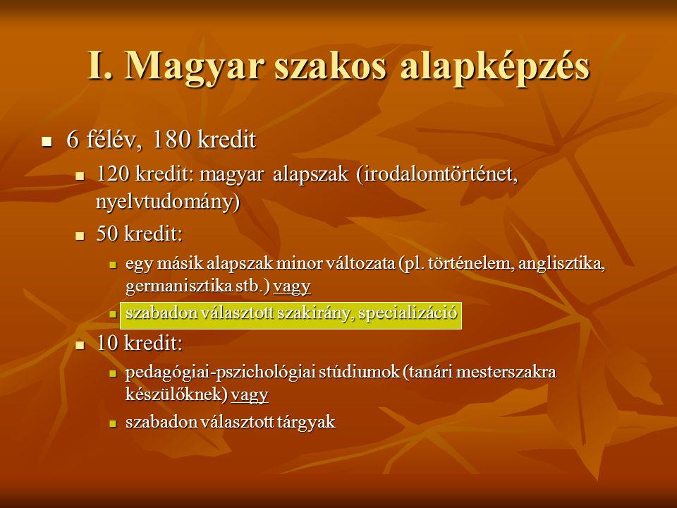 I. Magyar szakos alapképzés  6 félév, 180 kredit  120 kredit: magyar alapszak (irodalomtörténet, nyelvtudomány)  50 kredit:  egy másik alapszak mi