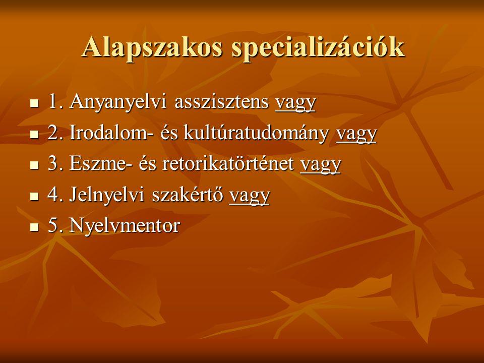 Alapszakos specializációk  1. Anyanyelvi asszisztens vagy  2. Irodalom- és kultúratudomány vagy  3. Eszme- és retorikatörténet vagy  4. Jelnyelvi