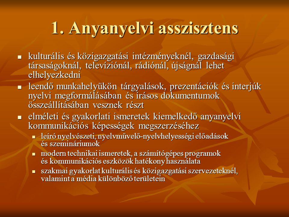 1. Anyanyelvi asszisztens  kulturális és közigazgatási intézményeknél, gazdasági társaságoknál, televíziónál, rádiónál, újságnál lehet elhelyezkedni