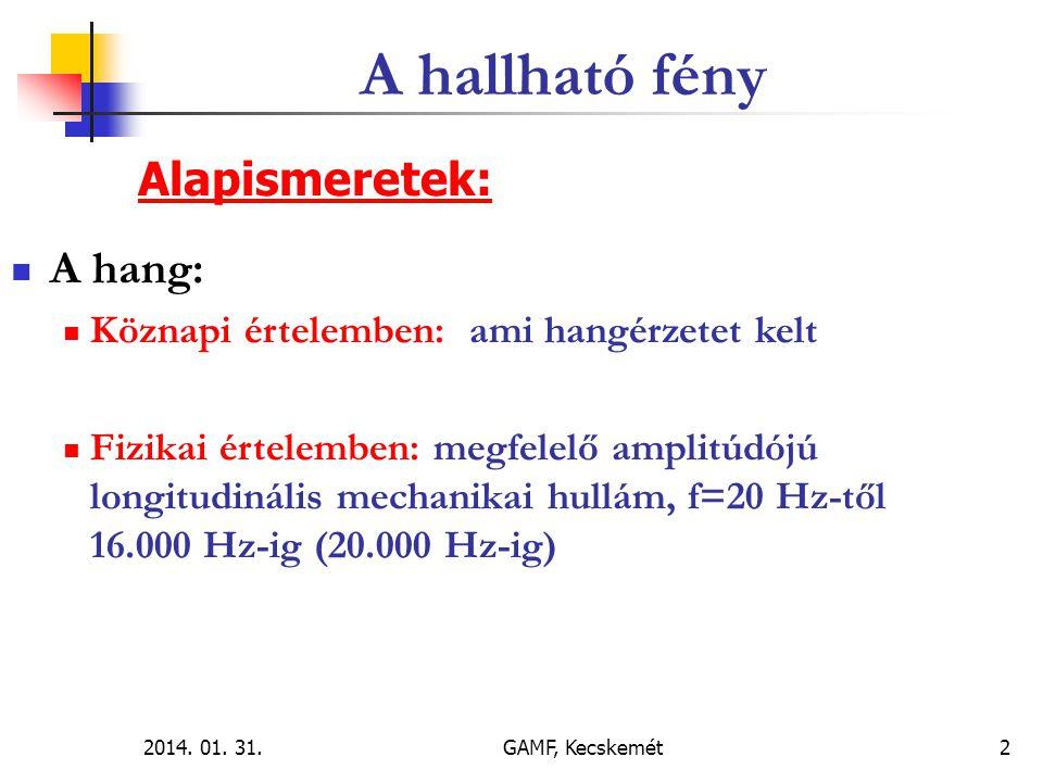 2014.01. 31.GAMF, Kecskemét3  A hallható fény:  A fény is hullám (elektromágneses).