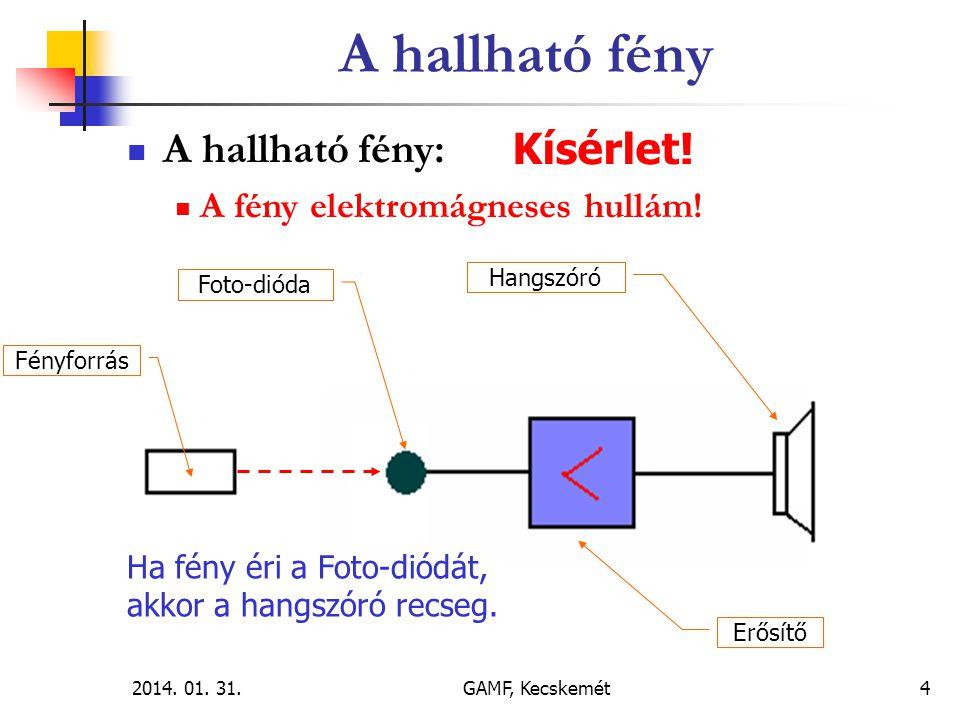 2014.01. 31.GAMF, Kecskemét5  A hallható fény:  A fény elektromágneses hullám.