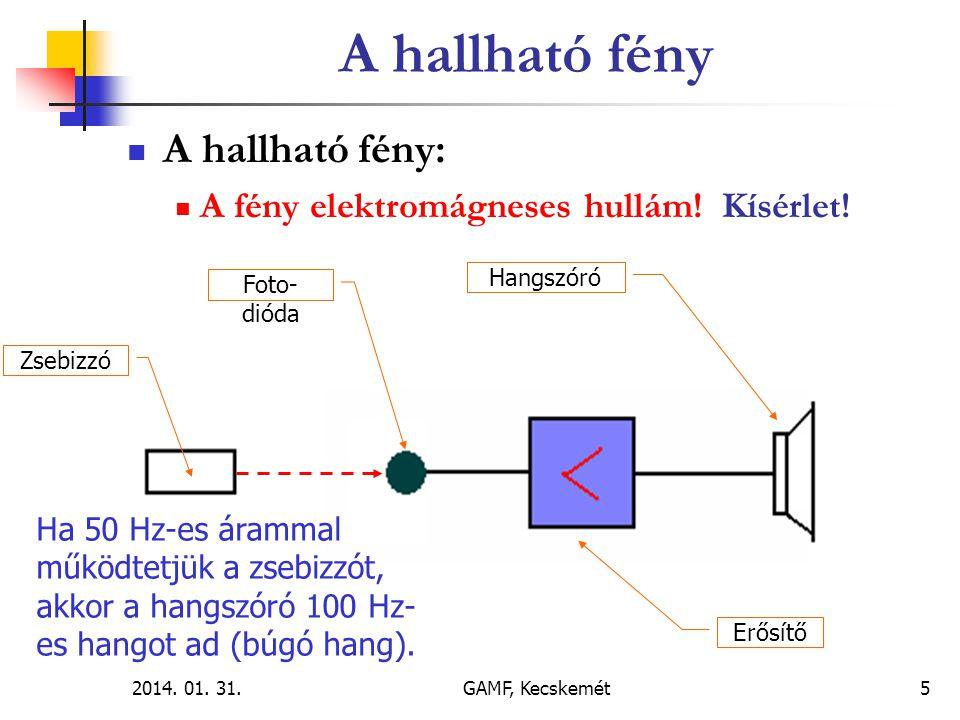 2014. 01. 31.GAMF, Kecskemét5  A hallható fény:  A fény elektromágneses hullám! Kísérlet! Zsebizzó Foto- dióda Erősítő Hangszóró Ha 50 Hz-es árammal
