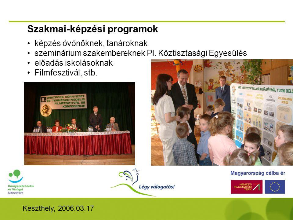 Keszthely, 2006.03.17 Szakmai-képzési programok • képzés óvónőknek, tanároknak • szeminárium szakembereknek Pl.