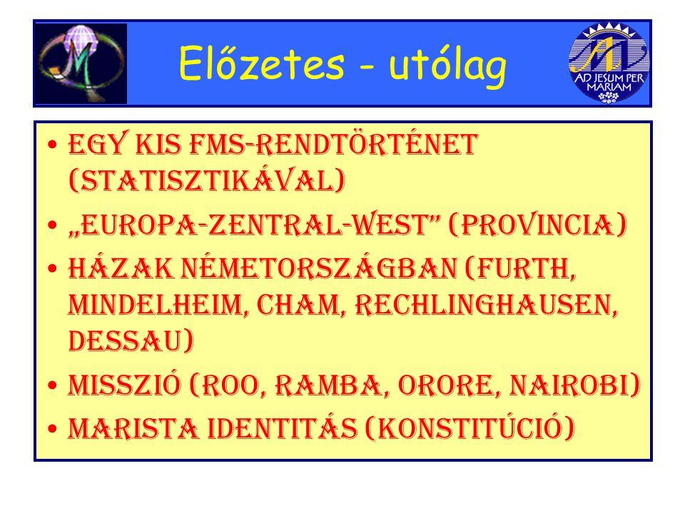 """Előzetes - utólag •Egy kis FMS-rendtörténet (statisztikával) •""""Europa-Zentral-West (Provincia) •Házak Németországban (Furth, Mindelheim, Cham, Rechlinghausen, Dessau) •Misszió (Roo, Ramba, Orore, Nairobi) •Marista identitás (Konstitúció)"""