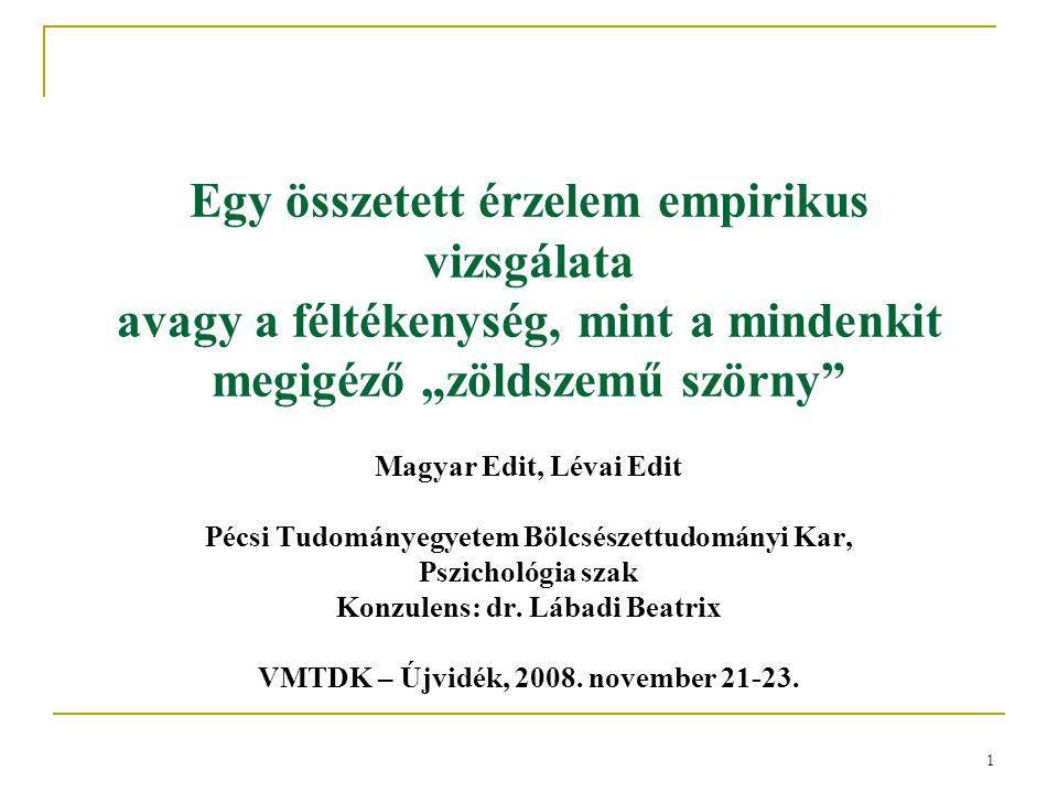 """1 Egy összetett érzelem empirikus vizsgálata avagy a féltékenység, mint a mindenkit megigéző """"zöldszemű szörny"""" Magyar Edit, Lévai Edit Pécsi Tudomány"""