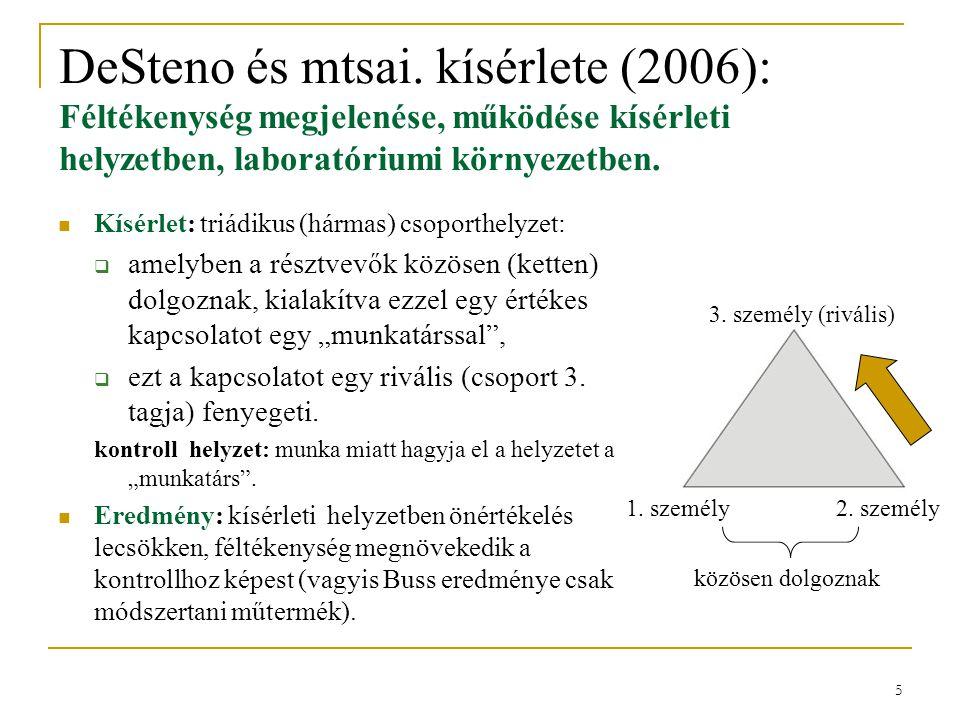 5 DeSteno és mtsai. kísérlete (2006): Féltékenység megjelenése, működése kísérleti helyzetben, laboratóriumi környezetben.  Kísérlet: triádikus (hárm