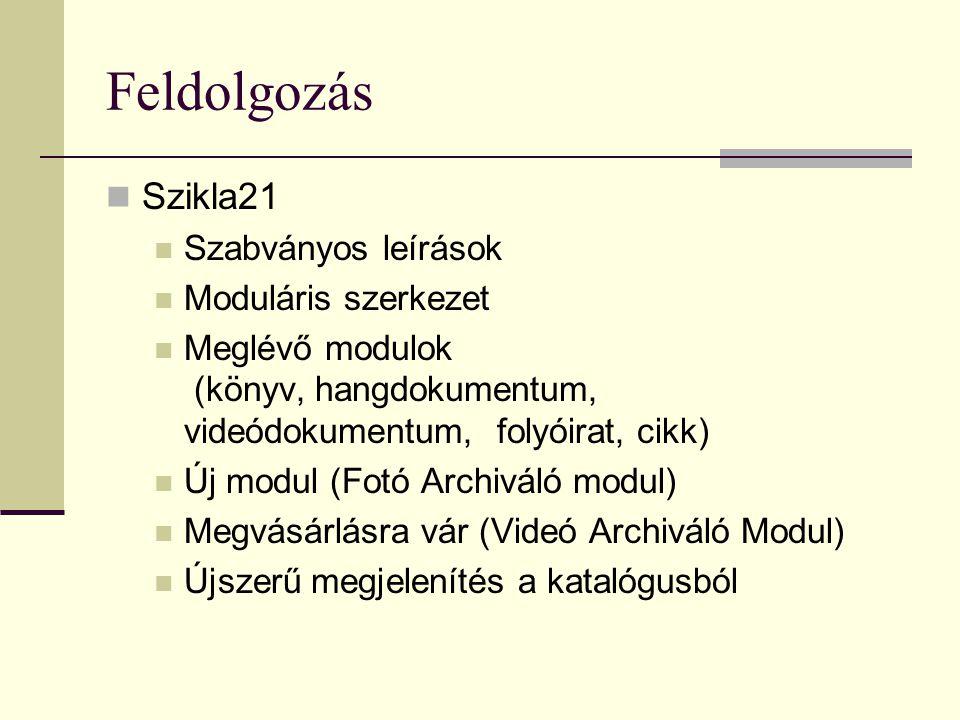 Feldolgozás  Szikla21  Szabványos leírások  Moduláris szerkezet  Meglévő modulok (könyv, hangdokumentum, videódokumentum, folyóirat, cikk)  Új modul (Fotó Archiváló modul)  Megvásárlásra vár (Videó Archiváló Modul)  Újszerű megjelenítés a katalógusból