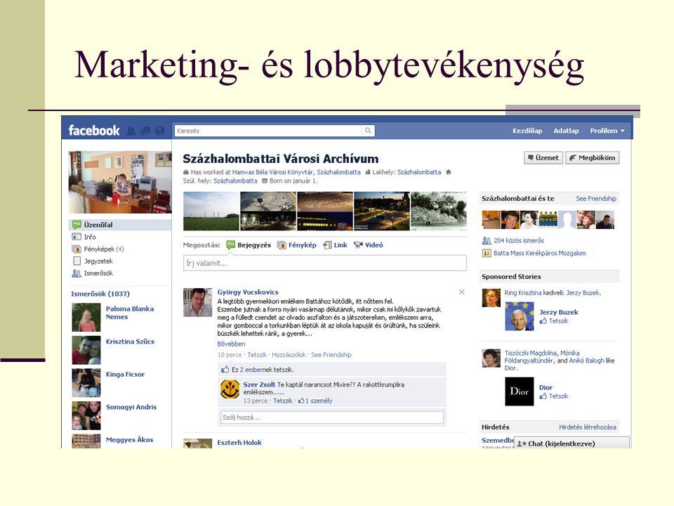 Marketing- és lobbytevékenység  Beszámolók (Kulturális Bizottság, Képviselőtestület  Televízió  Helyi újság  Előadások  Baráti Kör (Archívumot támogató magánszemélyek klubja)  Facebook (!)