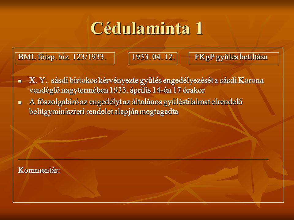 Cédulaminta 1 BML főisp. biz. 123/1933. 1933. 04. 12. FKgP gyűlés betiltása  X. Y. sásdi birtokos kérvényezte gyűlés engedélyezését a sásdi Korona ve