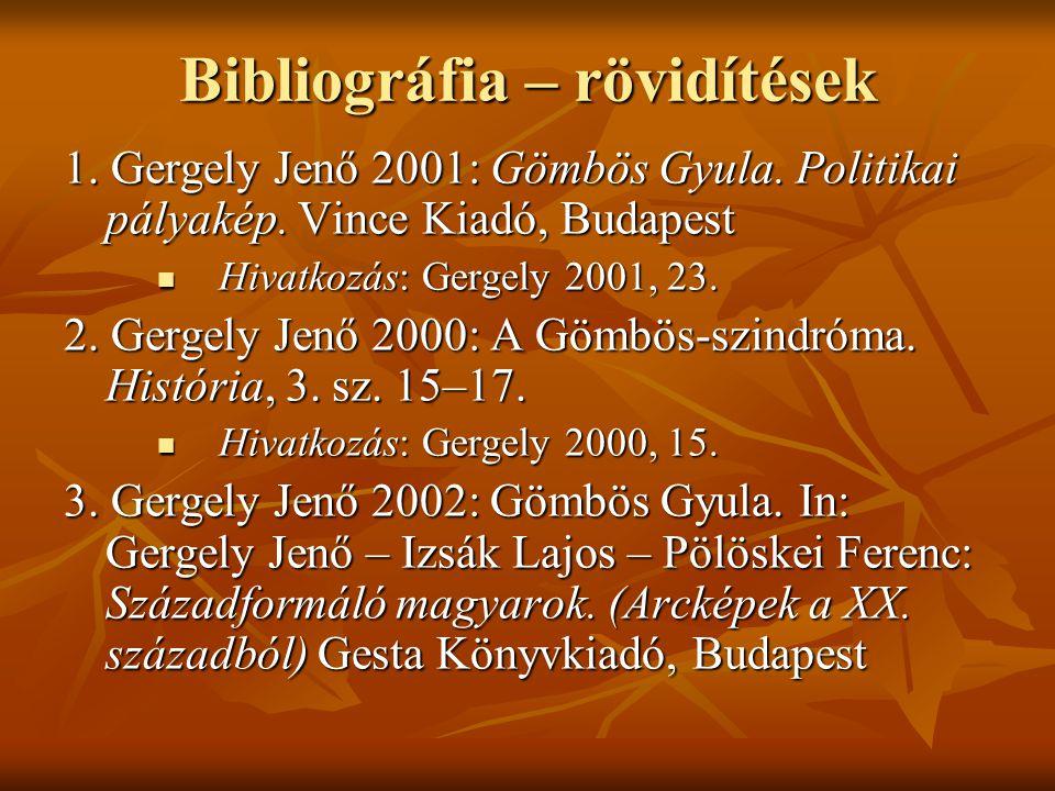 Bibliográfia – rövidítések 1. Gergely Jenő 2001: Gömbös Gyula. Politikai pályakép. Vince Kiadó, Budapest  Hivatkozás: Gergely 2001, 23. 2. Gergely Je