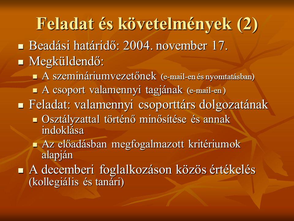Feladat és követelmények (2)  Beadási határidő: 2004. november 17.  Megküldendő:  A szemináriumvezetőnek (e-mail-en és nyomtatásban)  A csoport va