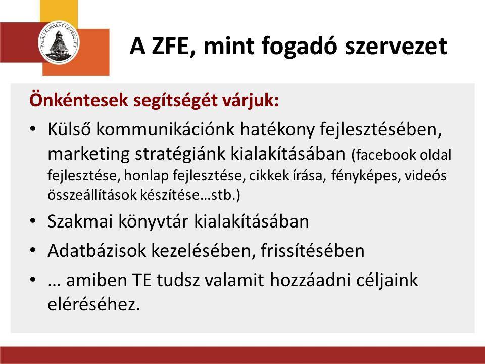 Elérhetőség Zalai Falvakért Egyesület Zala Megyei Önkéntes Centrum Selmeczi Zsófia www.onkenteszala.hu www.zalaifalvak.hu iroda: 8900 Zalaegerszeg, Kossuth u.