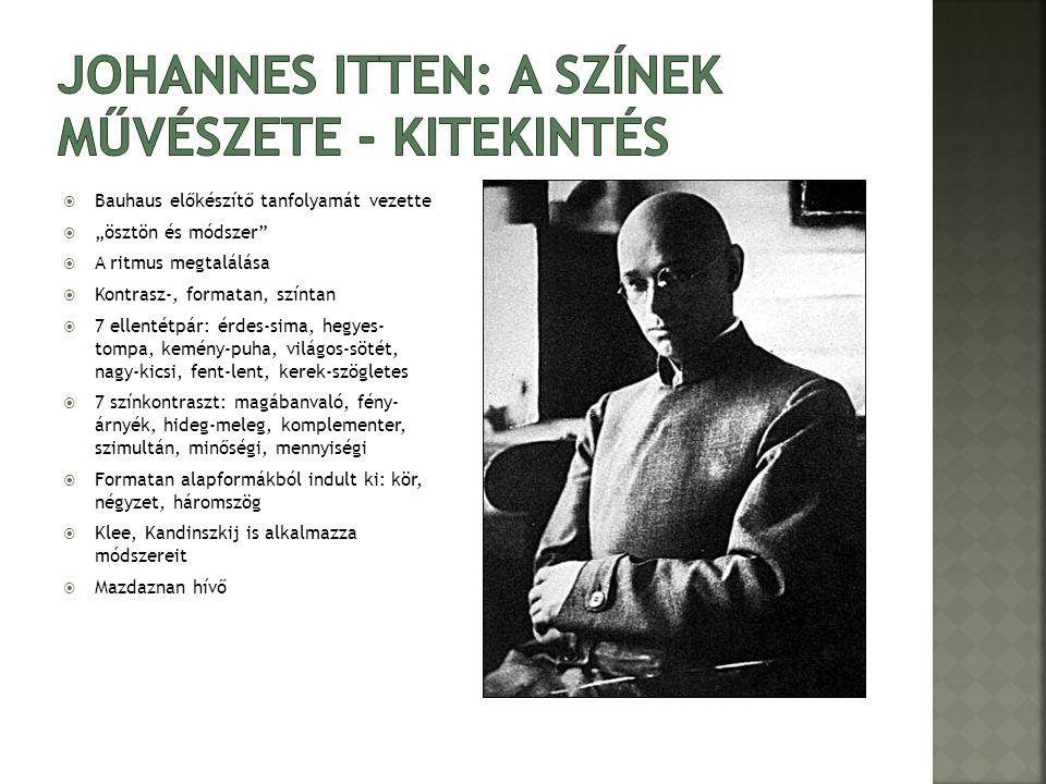 """ Bauhaus előkészítő tanfolyamát vezette  """"ösztön és módszer  A ritmus megtalálása  Kontrasz-, formatan, színtan  7 ellentétpár: érdes-sima, hegyes- tompa, kemény-puha, világos-sötét, nagy-kicsi, fent-lent, kerek-szögletes  7 színkontraszt: magábanvaló, fény- árnyék, hideg-meleg, komplementer, szimultán, minőségi, mennyiségi  Formatan alapformákból indult ki: kör, négyzet, háromszög  Klee, Kandinszkij is alkalmazza módszereit  Mazdaznan hívő"""