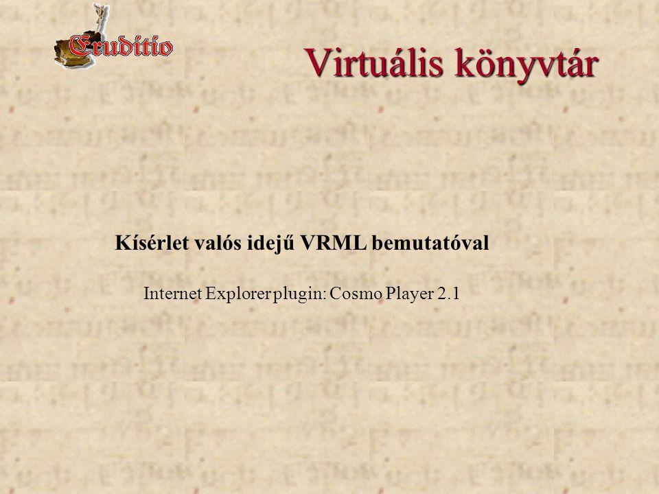 Virtuális könyvtár Kísérlet valós idejű VRML bemutatóval Internet Explorer plugin: Cosmo Player 2.1