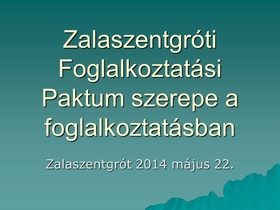 Zalaszentgróti Foglalkoztatási Paktum szerepe a foglalkoztatásban Zalaszentgrót 2014 május 22.