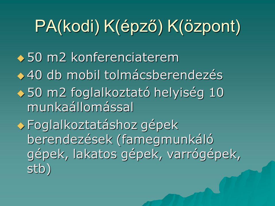 PA(kodi) K(épző) K(özpont)  50 m2 konferenciaterem  40 db mobil tolmácsberendezés  50 m2 foglalkoztató helyiség 10 munkaállomással  Foglalkoztatás