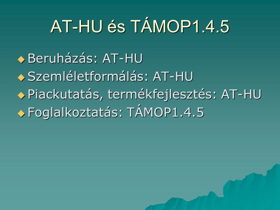AT-HU és TÁMOP1.4.5  Beruházás: AT-HU  Szemléletformálás: AT-HU  Piackutatás, termékfejlesztés: AT-HU  Foglalkoztatás: TÁMOP1.4.5