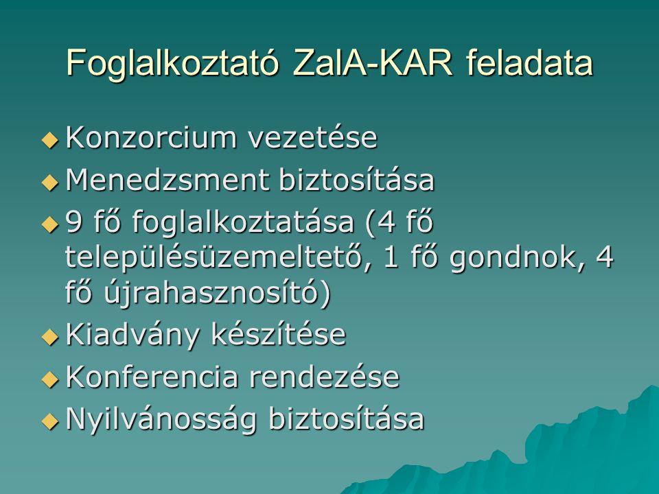 Foglalkoztató ZalA-KAR feladata  Konzorcium vezetése  Menedzsment biztosítása  9 fő foglalkoztatása (4 fő településüzemeltető, 1 fő gondnok, 4 fő ú