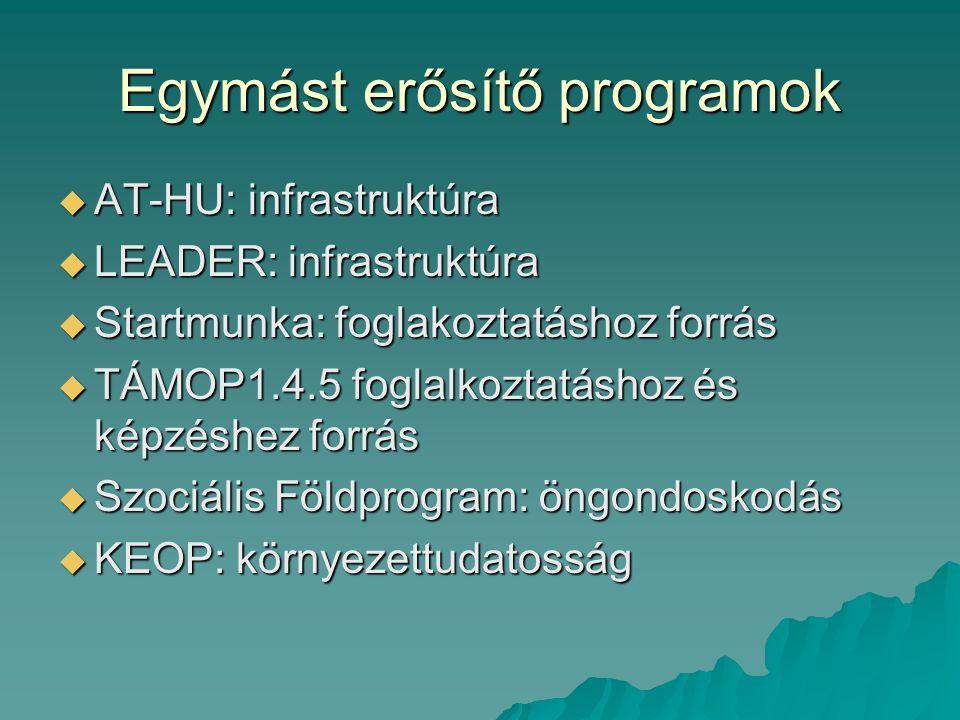 Egymást erősítő programok  AT-HU: infrastruktúra  LEADER: infrastruktúra  Startmunka: foglakoztatáshoz forrás  TÁMOP1.4.5 foglalkoztatáshoz és kép