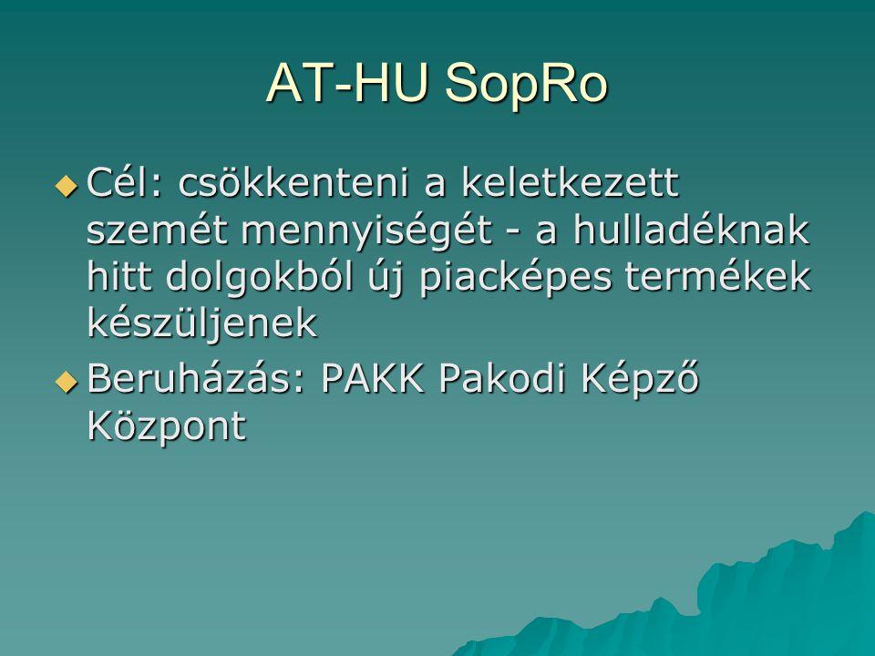 AT-HU SopRo  Cél: csökkenteni a keletkezett szemét mennyiségét - a hulladéknak hitt dolgokból új piacképes termékek készüljenek  Beruházás: PAKK Pak