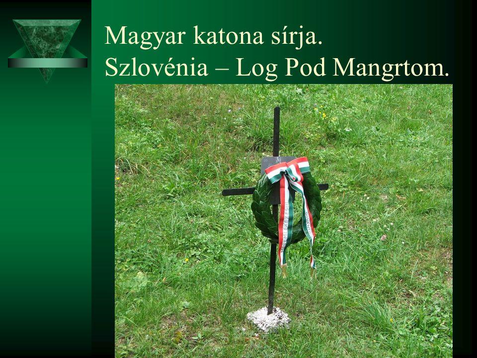 Magyar katona sírja. Szlovénia – Log Pod Mangrtom.