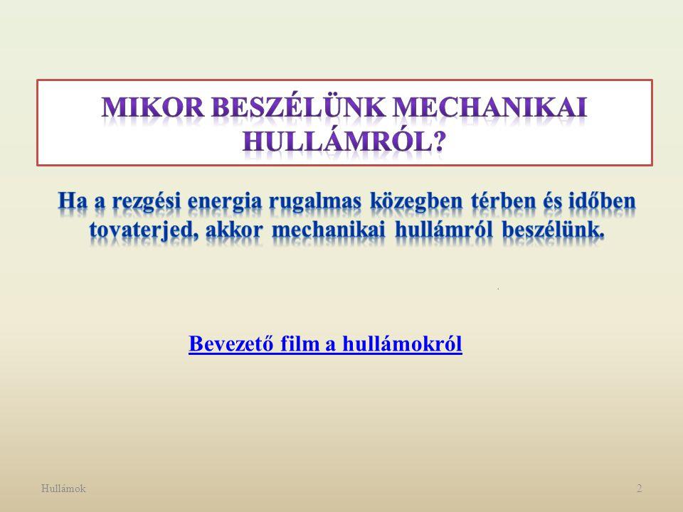 Hullámok3 Hullámok csoportosítása a terjedés dimenziói szerint: 1 dimenziós: vonalmenti hullám pl.