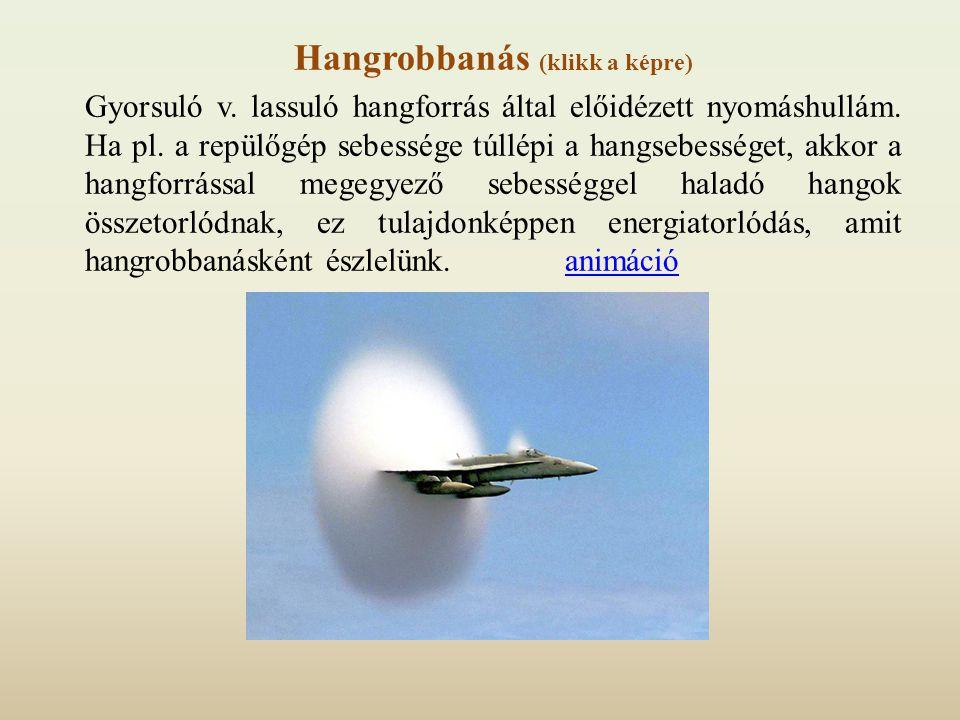 Hangrobbanás (klikk a képre) Gyorsuló v. lassuló hangforrás által előidézett nyomáshullám. Ha pl. a repülőgép sebessége túllépi a hangsebességet, akko