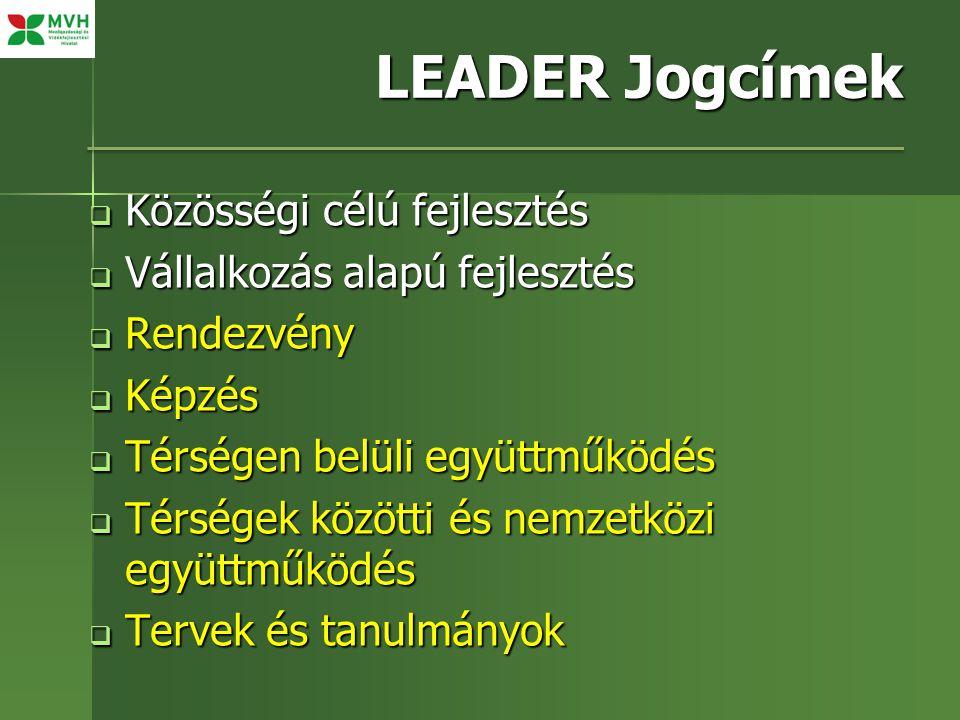 LEADER Jogcímek  Közösségi célú fejlesztés  Vállalkozás alapú fejlesztés  Rendezvény  Képzés  Térségen belüli együttműködés  Térségek közötti és nemzetközi együttműködés  Tervek és tanulmányok