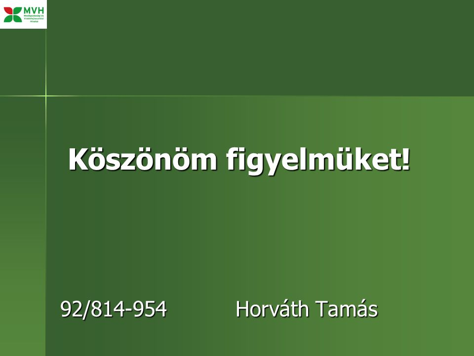 Köszönöm figyelmüket! 92/814-954 Horváth Tamás