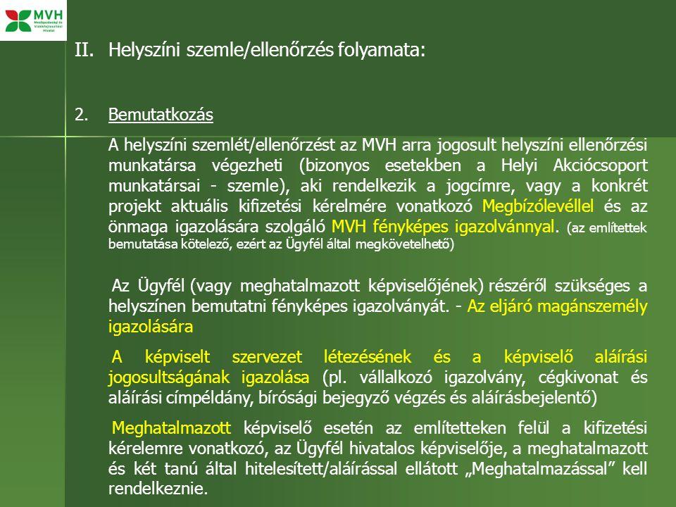 II.Helyszíni szemle/ellenőrzés folyamata: 2.