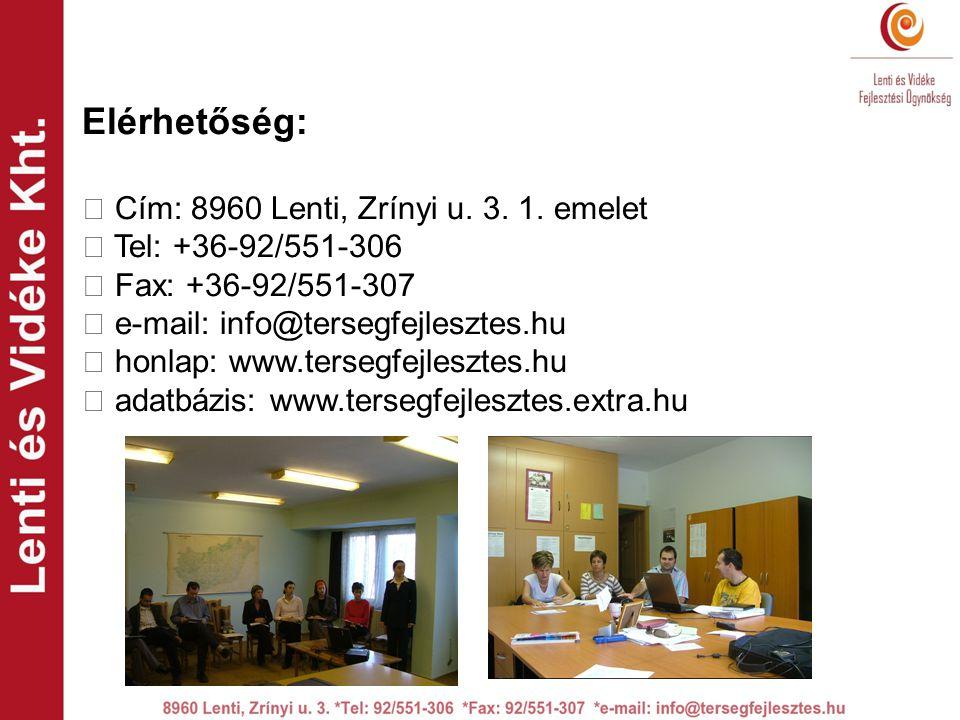 Elérhetőség:  Cím: 8960 Lenti, Zrínyi u. 3. 1.