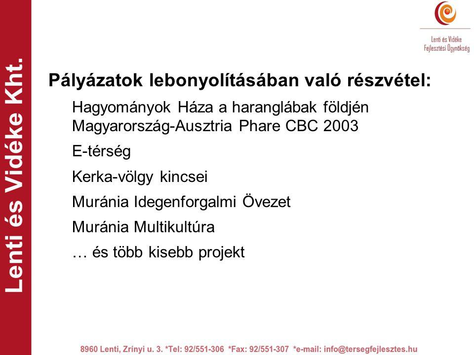 Pályázatok lebonyolításában való részvétel: Hagyományok Háza a haranglábak földjén Magyarország-Ausztria Phare CBC 2003 E-térség Kerka-völgy kincsei Muránia Idegenforgalmi Övezet Muránia Multikultúra … és több kisebb projekt