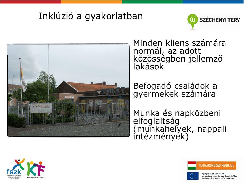 Inklúzió a gyakorlatban Minden kliens számára normál, az adott közösségben jellemző lakások Befogadó családok a gyermekek számára Munka és napközbeni elfoglaltság (munkahelyek, nappali intézmények)