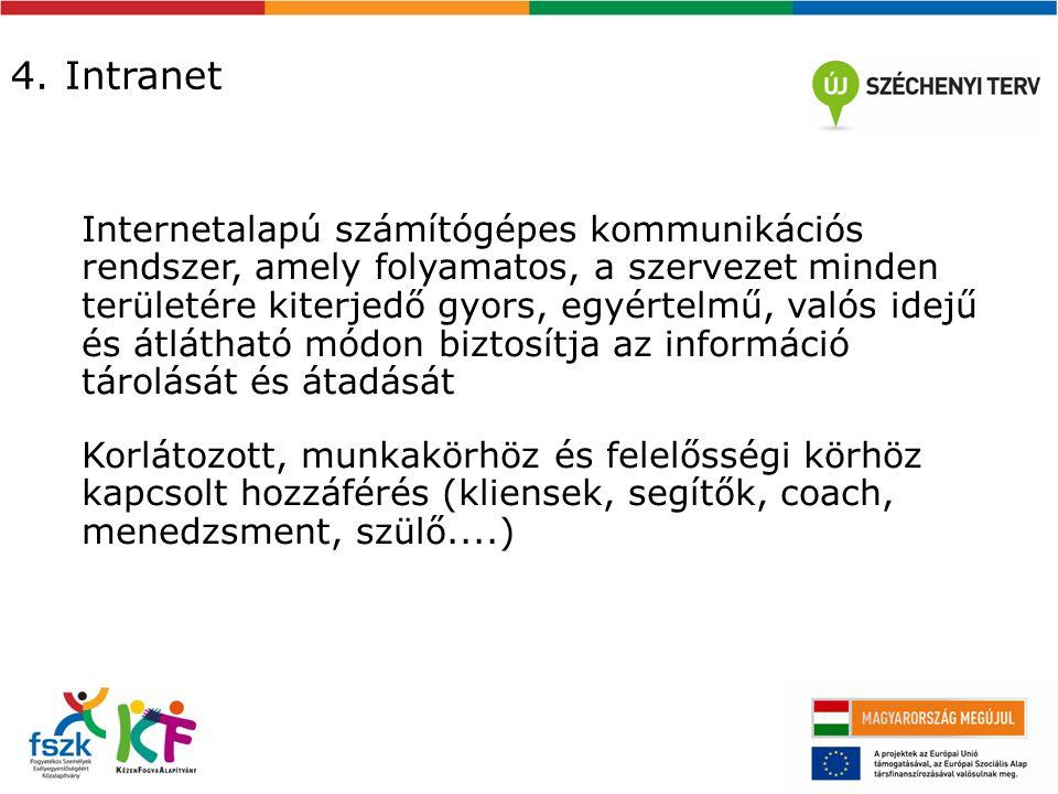 4. Intranet Internetalapú számítógépes kommunikációs rendszer, amely folyamatos, a szervezet minden területére kiterjedő gyors, egyértelmű, valós idej