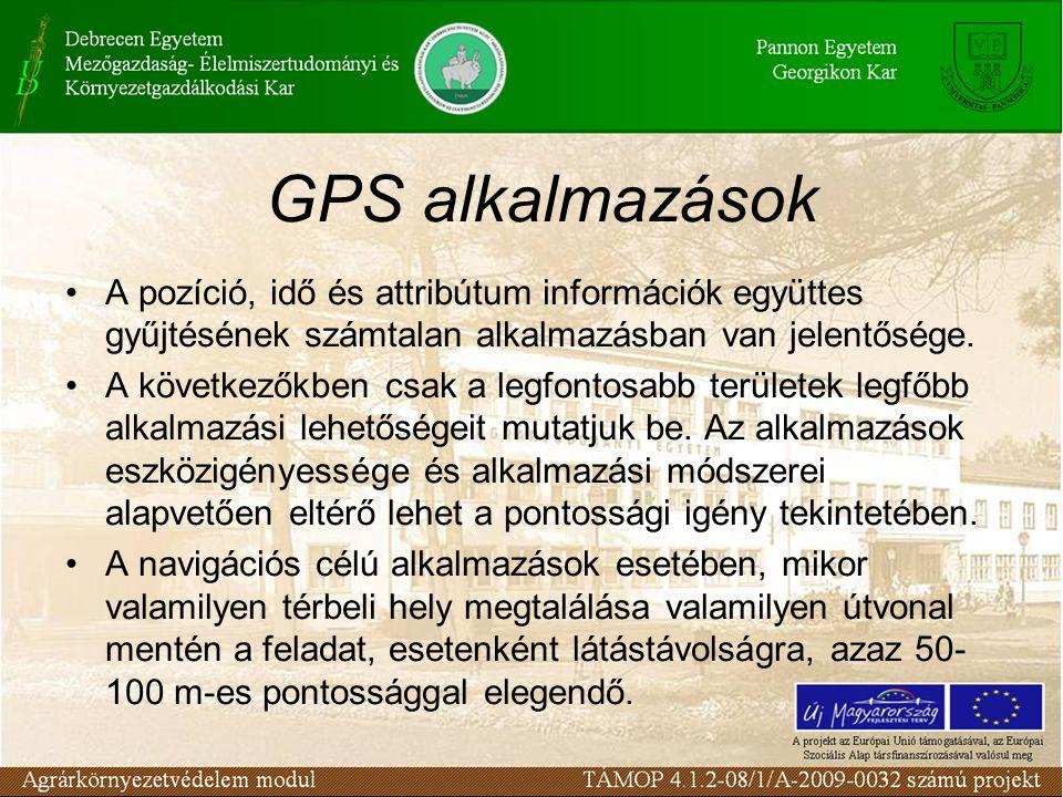 GPS alkalmazások •A pozíció, idő és attribútum információk együttes gyűjtésének számtalan alkalmazásban van jelentősége.