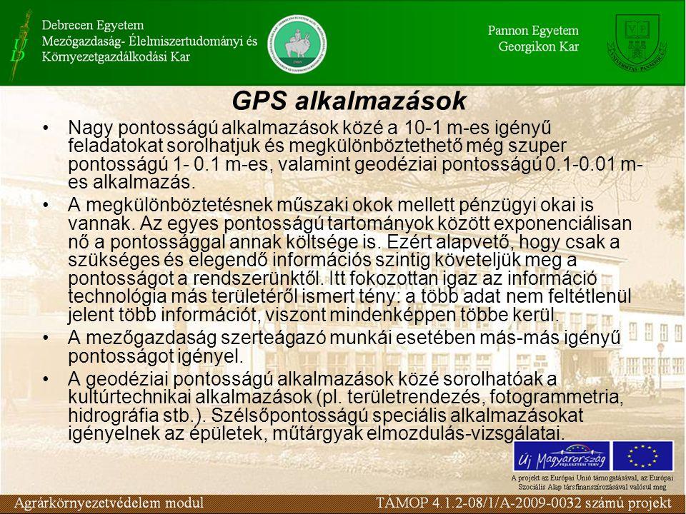 GPS alkalmazások •Nagy pontosságú alkalmazások közé a 10-1 m-es igényű feladatokat sorolhatjuk és megkülönböztethető még szuper pontosságú 1- 0.1 m-es, valamint geodéziai pontosságú 0.1-0.01 m- es alkalmazás.
