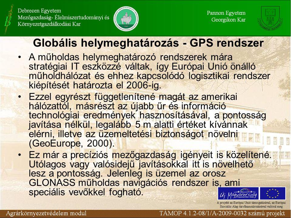 Globális helymeghatározás - GPS rendszer •A műholdas helymeghatározó rendszerek mára stratégiai IT eszközzé váltak, így Európai Unió önálló műholdhálózat és ehhez kapcsolódó logisztikai rendszer kiépítését határozta el 2006-ig.
