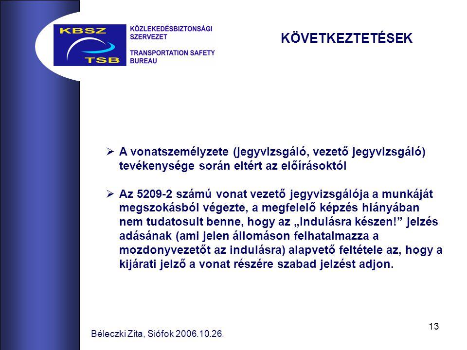 13 Béleczki Zita, Siófok 2006.10.26.  A vonatszemélyzete (jegyvizsgáló, vezető jegyvizsgáló) tevékenysége során eltért az előírásoktól  Az 5209-2 sz