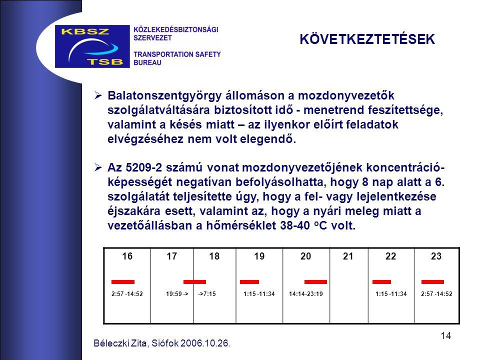 14 Béleczki Zita, Siófok 2006.10.26.  Balatonszentgyörgy állomáson a mozdonyvezetők szolgálatváltására biztosított idő - menetrend feszítettsége, val